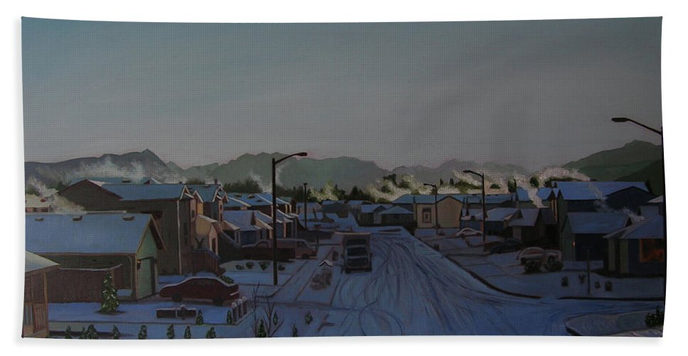 Winter Landscape Bath Sheet featuring the painting Corner Of 157th St. And 168th Ave. by Thu Nguyen