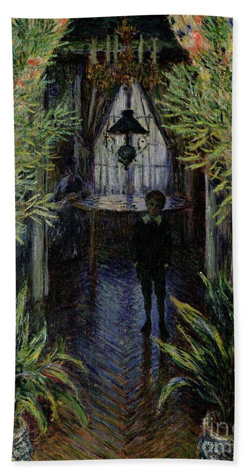 Corner Of A Flat At Argenteuil Bath Sheet featuring the painting Corner Of A Flat At Argenteuil by Claude Monet