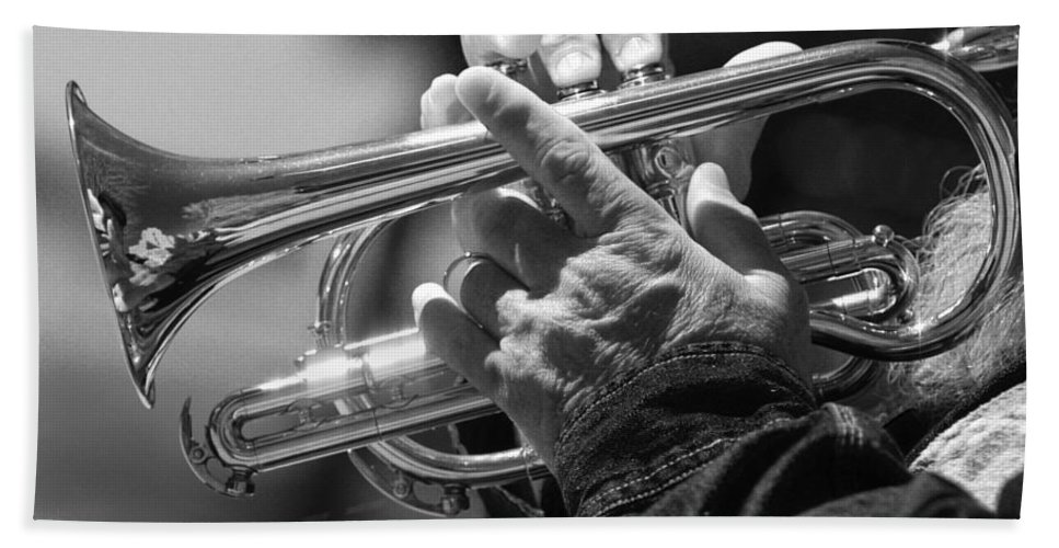 Trumpet Hand Towel featuring the photograph Cornet On Pearl In Bw by James BO Insogna