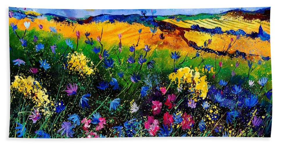 Flowers Bath Sheet featuring the painting Cornflowers 680808 by Pol Ledent