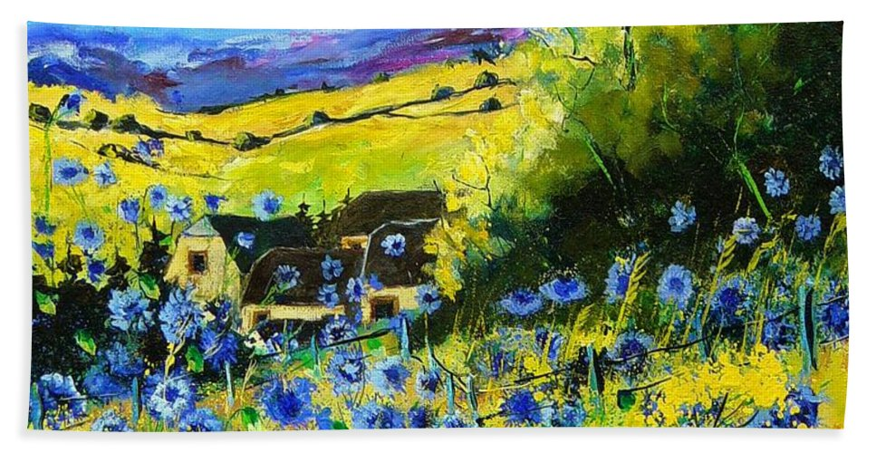 Flowers Bath Towel featuring the painting Cornflowers In Ver by Pol Ledent