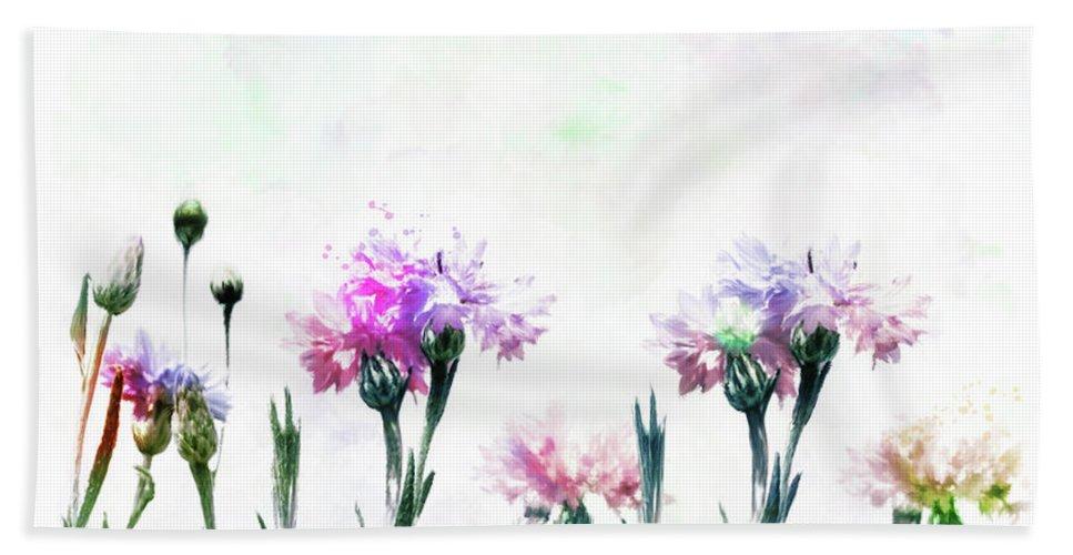 Cornflower Hand Towel featuring the digital art Cornflowers Watercolor by Svetlana Foote