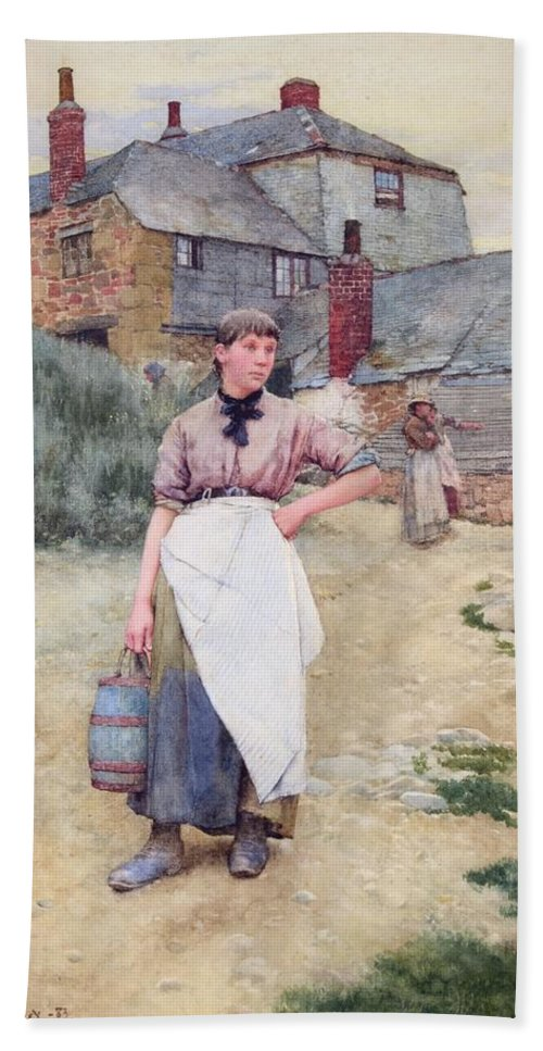 Walter Langley Bath Sheet featuring the painting Cornish Village Maiden by Walter Langley
