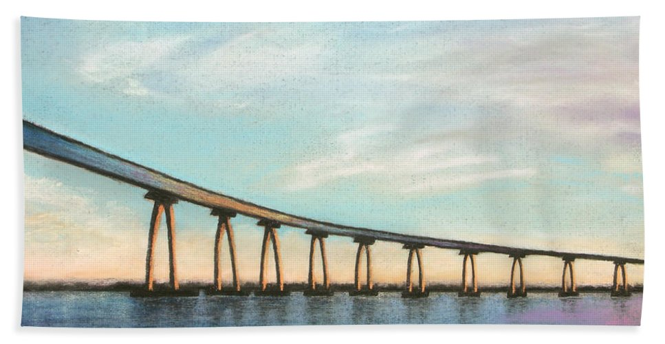 Coronado Hand Towel featuring the pastel Coronado Bridge Sunset A by Michael Heikkinen