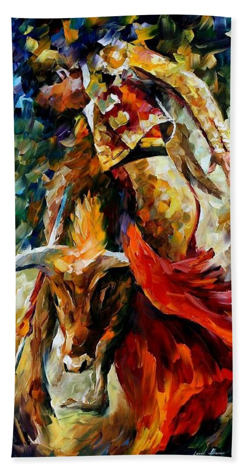 Bull Bath Sheet featuring the painting Corrida by Leonid Afremov