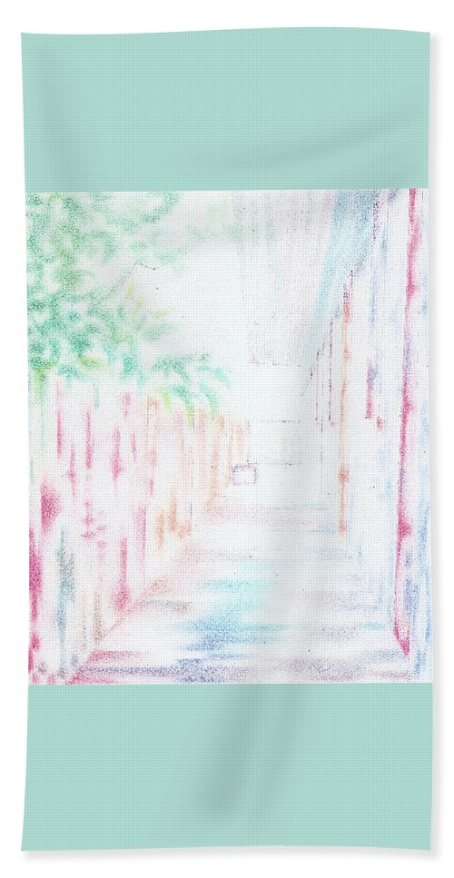 Landscape Impression Hand Towel featuring the drawing Corridor by Guy Edward Hoffman