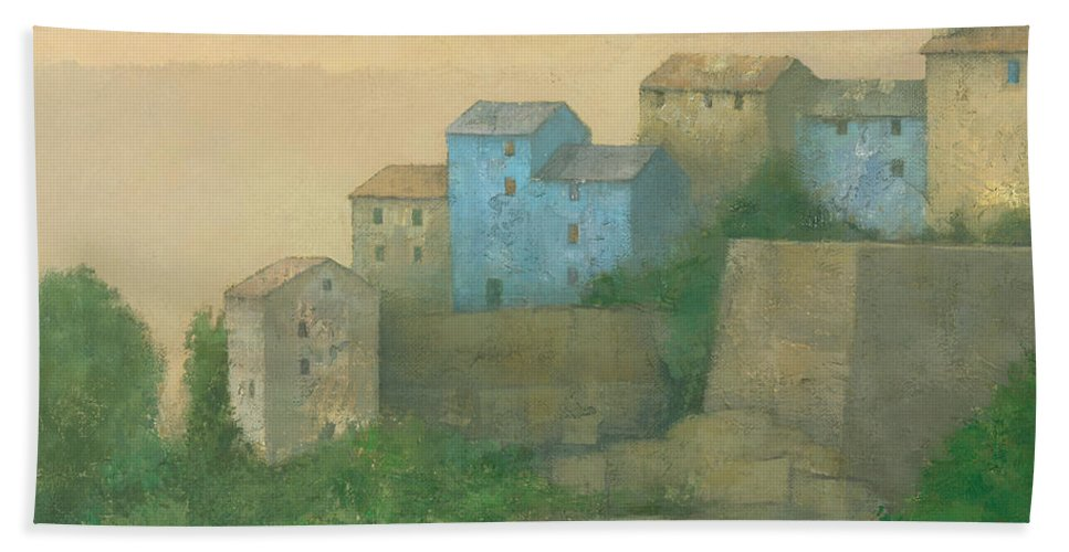 Landscape Hand Towel featuring the painting Corsican Hill Top Village by Steve Mitchell