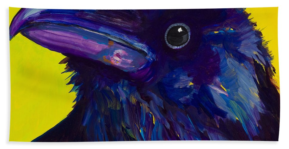 Bird Bath Towel featuring the painting Corvus by Pat Saunders-White