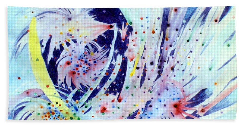 Abstract Bath Sheet featuring the painting Cosmic Candy by Steve Karol