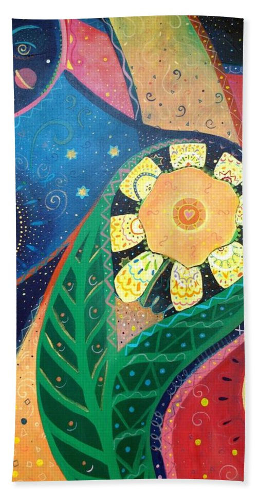 Yin And Yang Bath Towel featuring the painting Cosmic Carnival II Aka Duality by Helena Tiainen
