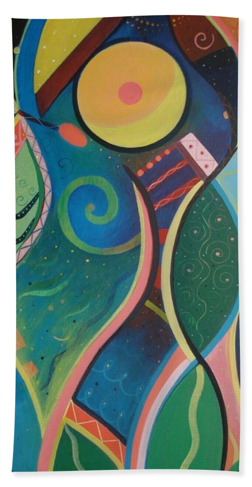 Abstract Bath Sheet featuring the painting Cosmic Carnival V Aka The Dance by Helena Tiainen
