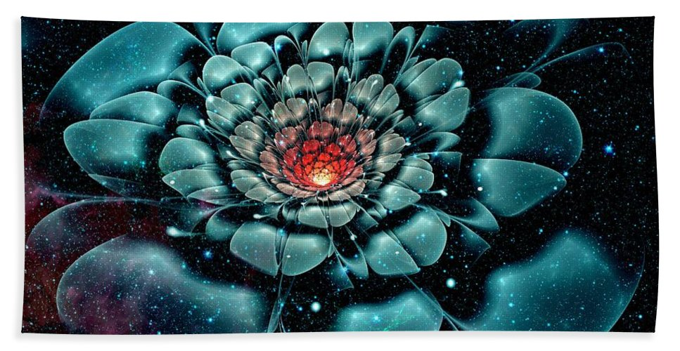 Flower Bath Sheet featuring the digital art Cosmic Flower by Anastasiya Malakhova