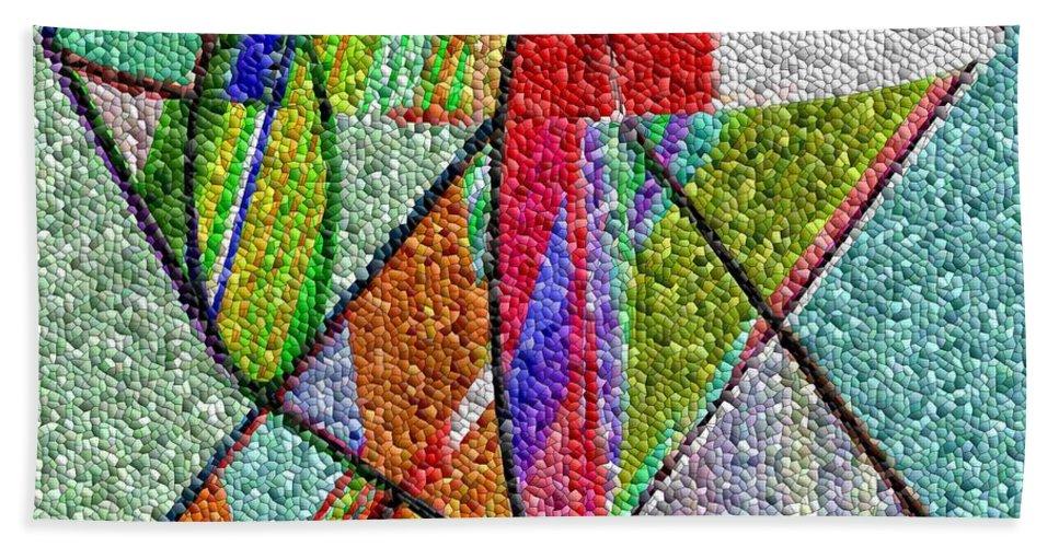 Life Bath Sheet featuring the digital art Cosmic Lifeways Mosaic by Helmut Rottler