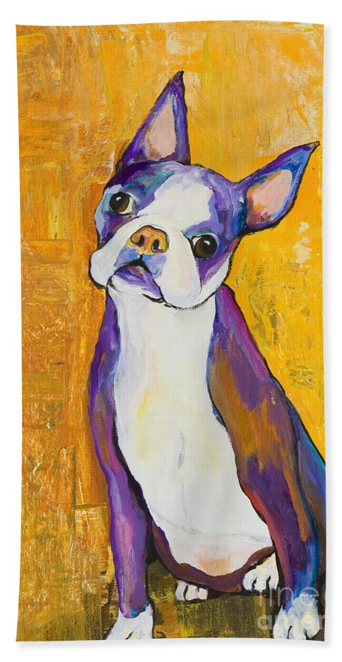 Boston Terrier Animals Acrylic Dog Portraits Pet Portraits Animal Portraits Pat Saunders-white Hand Towel featuring the painting Cosmo by Pat Saunders-White