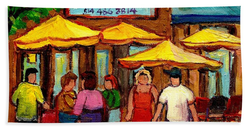 Cosmos Restaurant Hand Towel featuring the painting Cosmos Fameux Restaurant On Sherbrooke by Carole Spandau