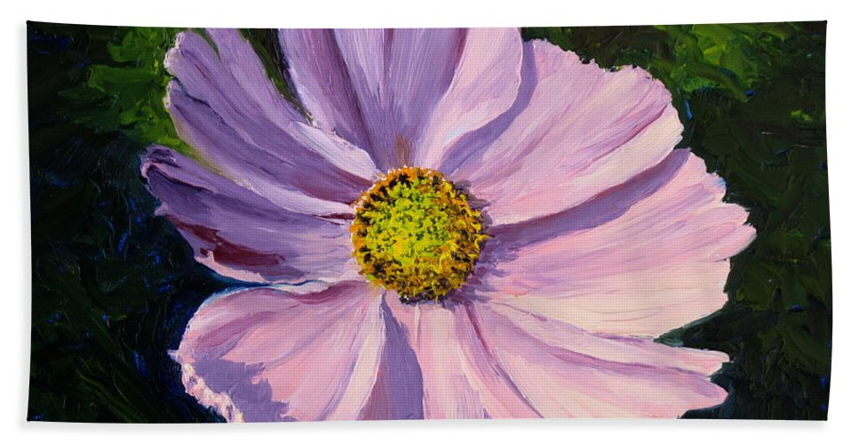 Flower Hand Towel featuring the painting Cosmos by Lea Novak