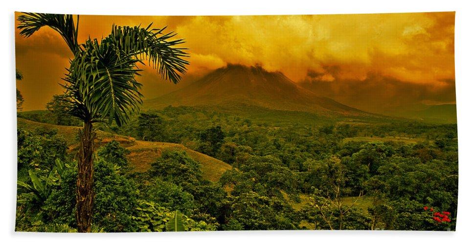 Volcanic Bath Sheet featuring the photograph Costa Rica Volcano by Madeline Ellis