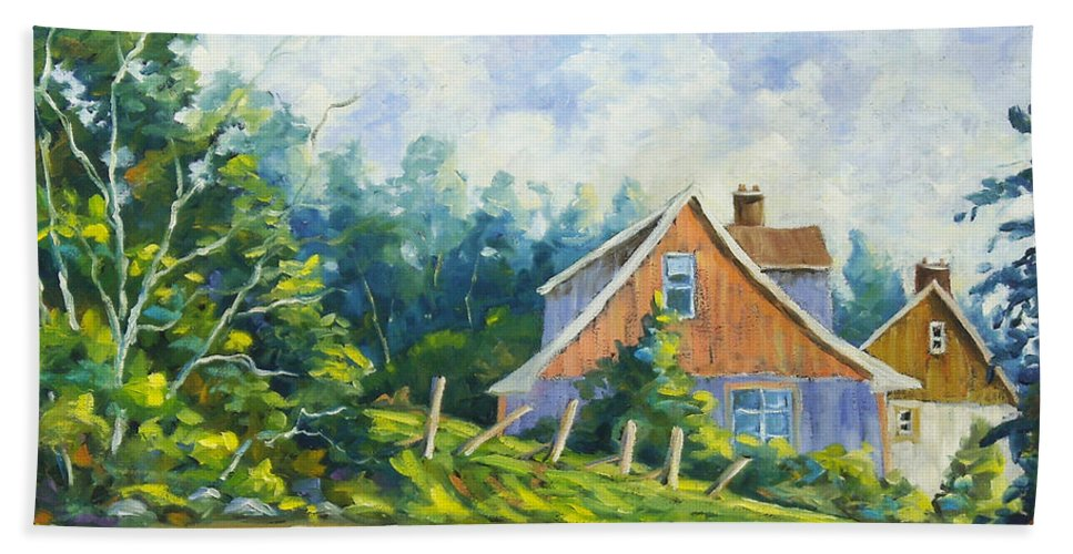 Art Hand Towel featuring the painting Cote Ste Anne De Beaupre by Richard T Pranke