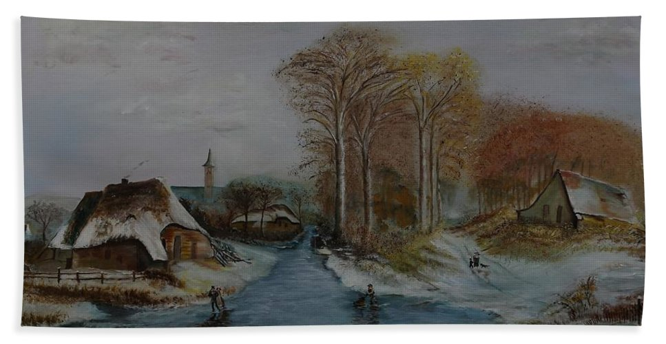 Thatched Roof Cottage Bath Towel featuring the painting Cottage Country - Lmj by Ruth Kamenev