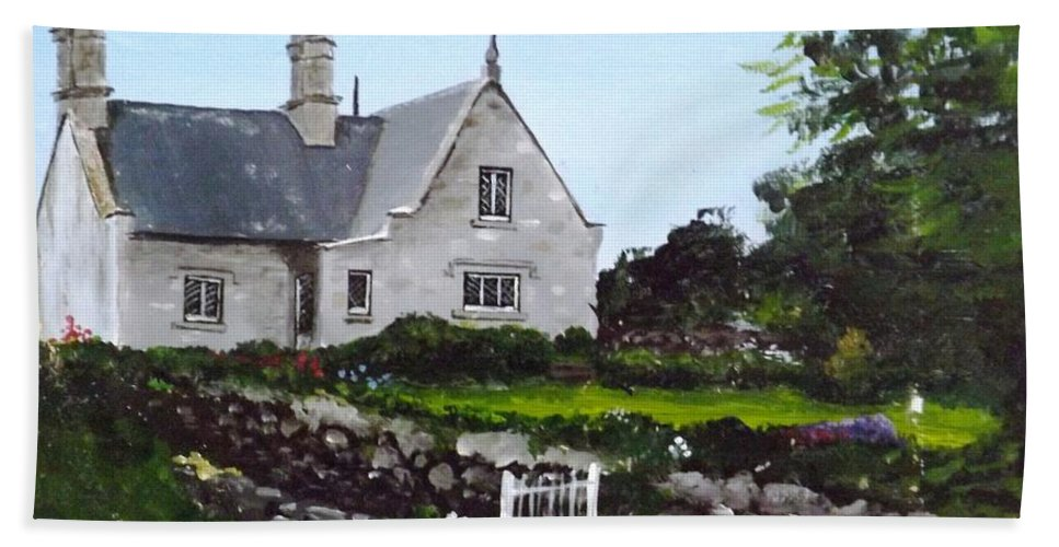 Cottage Hand Towel featuring the painting Cottage, Graiguenamanagh by Tony Gunning