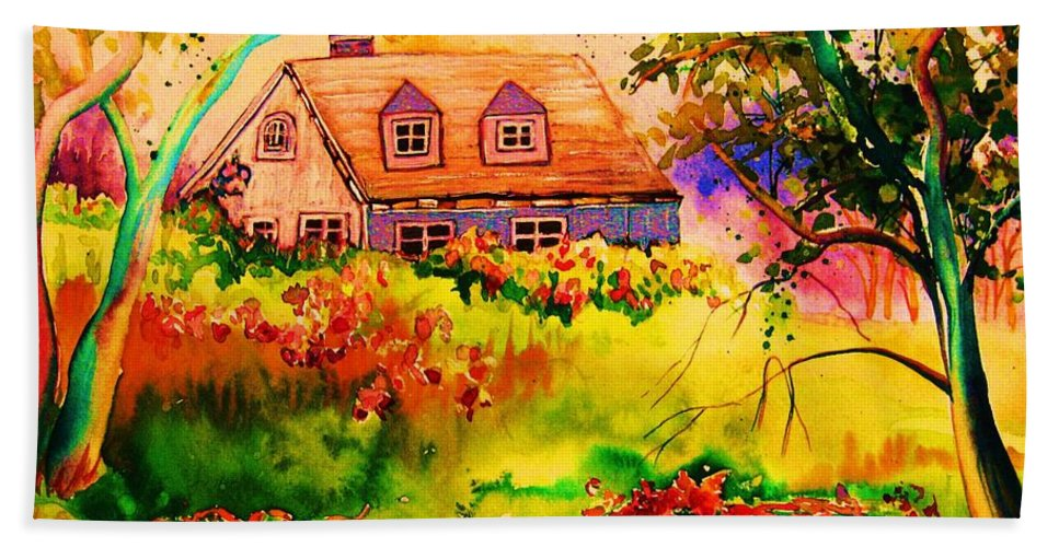 Maine Countryscene Bath Towel featuring the painting Cottage In Maine by Carole Spandau