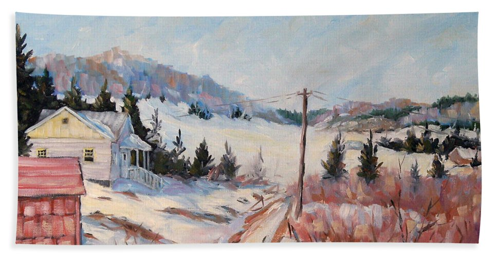 Road Bath Towel featuring the painting Cottage Road by Richard T Pranke