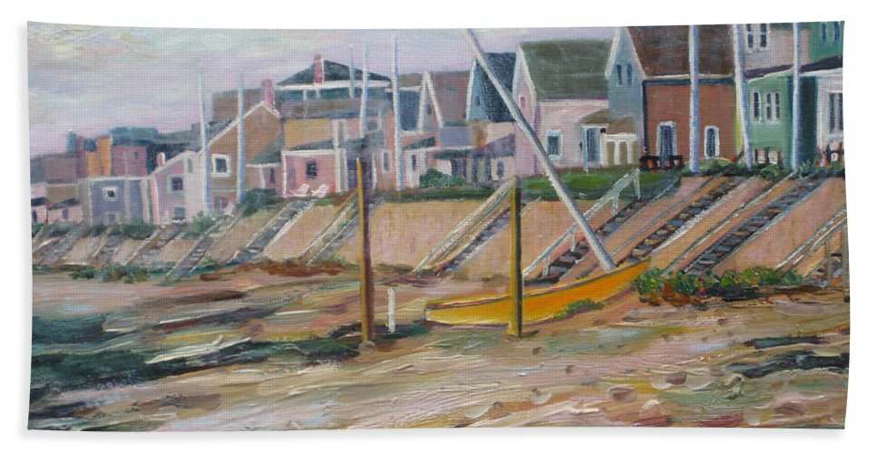 Beach Hand Towel featuring the painting Cottages Along Moody Beach by Richard Nowak