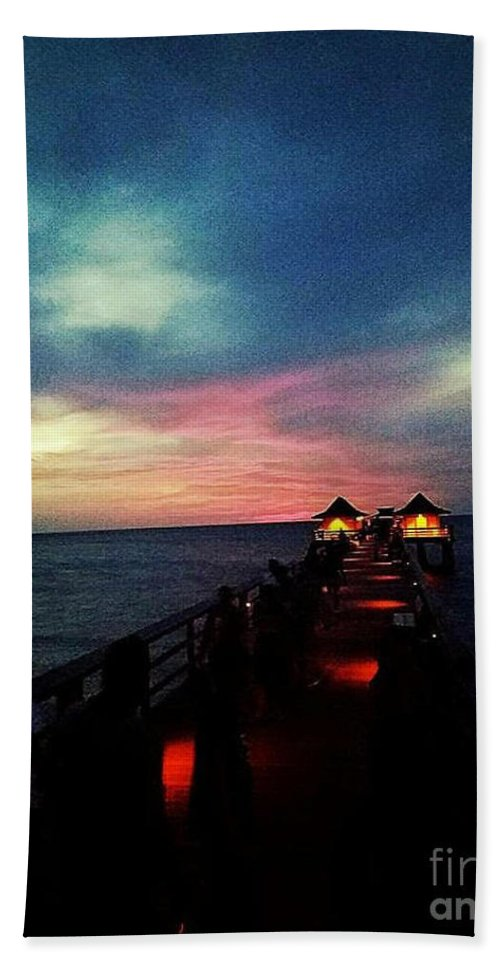 Pier Bath Sheet featuring the photograph Cotton Candy Sky by Alexis Rockway