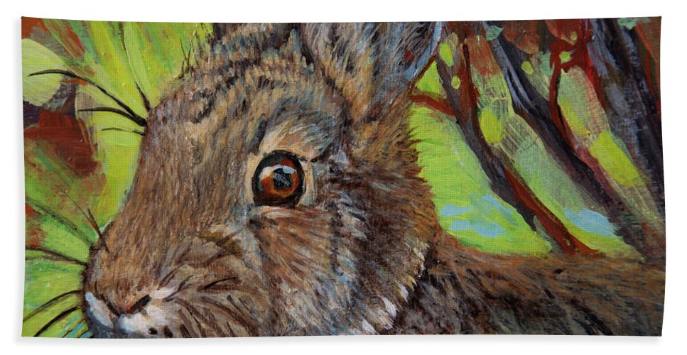Rabbit Bath Sheet featuring the painting Cotton Tail Rabbit by Rob Corsetti