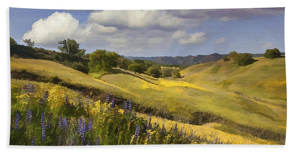Lupine Bath Sheet featuring the digital art Cottonwood Canyon by Sharon Foster