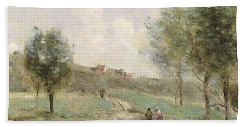 Corot Hand Towel featuring the painting Coubron Ascending Path by Jean Baptiste Camille Corot