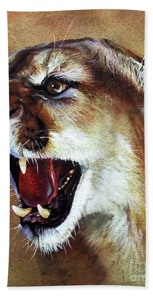 Southwest Art Bath Towel featuring the painting Cougar by J W Baker