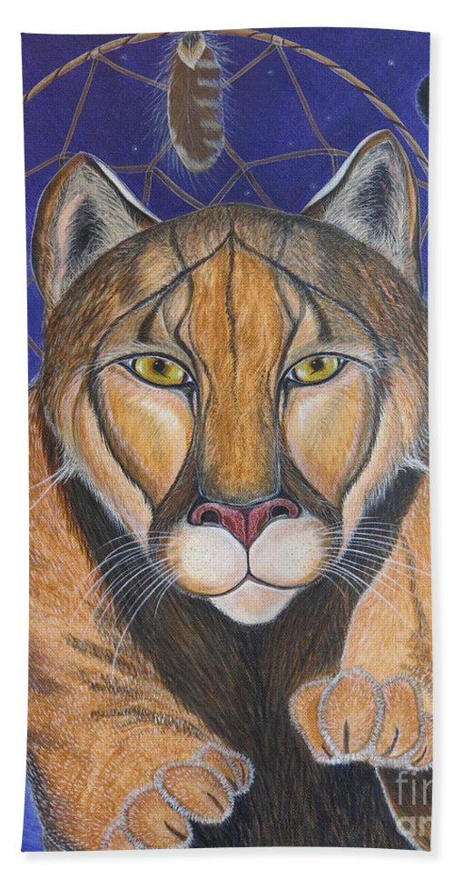 Aimee Mouw Bath Sheet featuring the painting Cougar Medicine With Cobalt Blue Background by Aimee Mouw