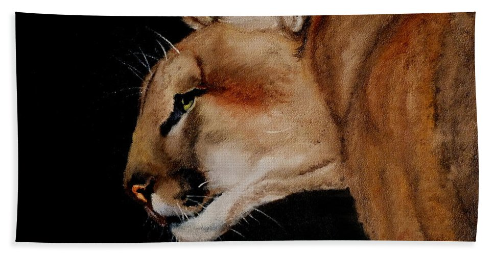 Wildlife Bath Sheet featuring the painting Cougar by Petra Stephens