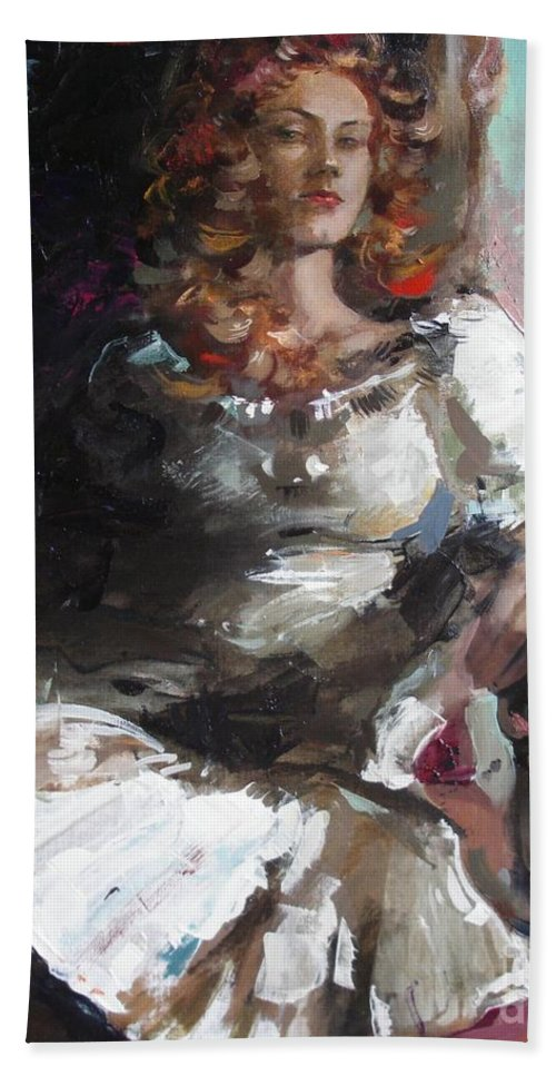 Ignatenko Hand Towel featuring the painting Countess by Sergey Ignatenko