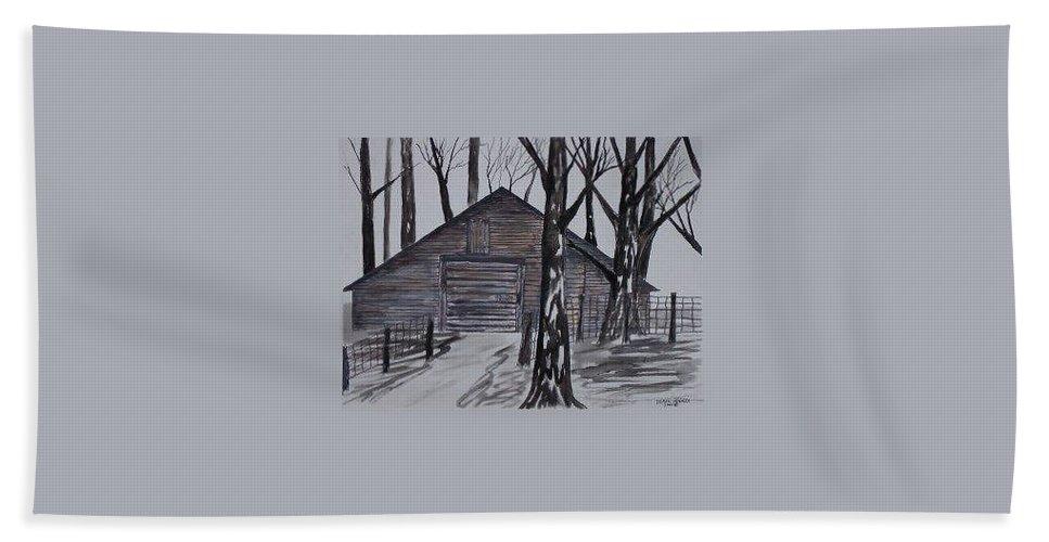 Watercolor Landscape Painting Barn Pen And Ink Drawing Print Original Bath Towel featuring the painting COUNTRY BARN pen and ink drawing print by Derek Mccrea