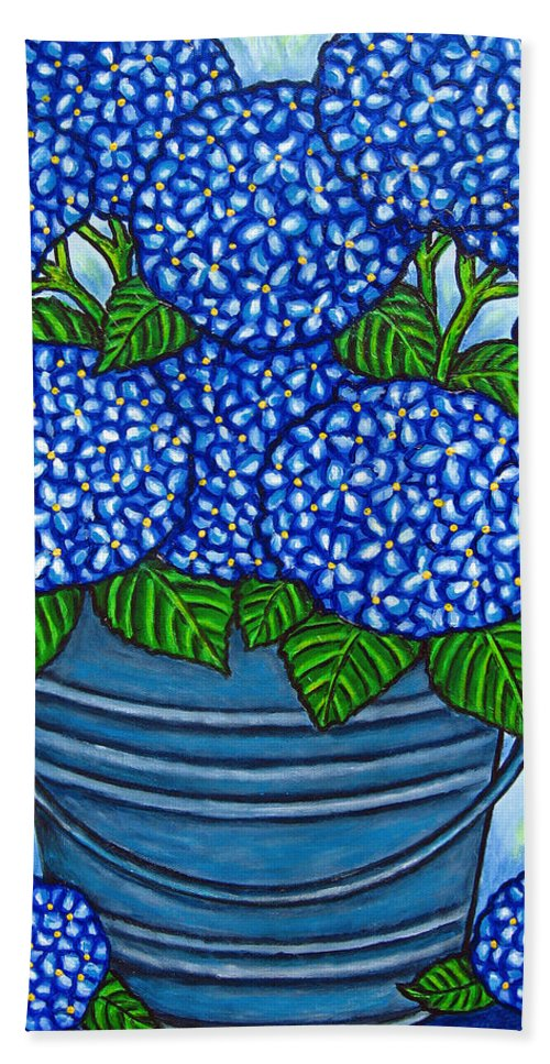 Blue Bath Towel featuring the painting Country Blues by Lisa Lorenz
