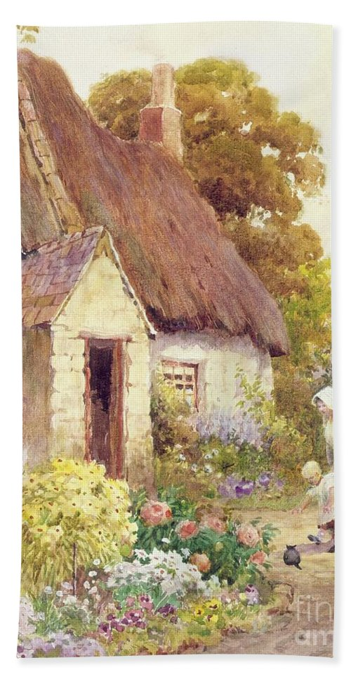 Country Hand Towel featuring the painting Country Cottage by Joshua Fisher