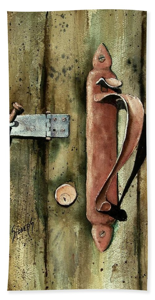Rust Hand Towel featuring the painting Country Door Lock by Sam Sidders