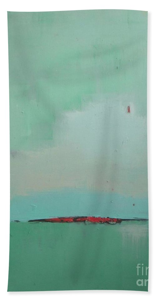 Green Field Hand Towel featuring the painting Country Fresh by Vesna Antic