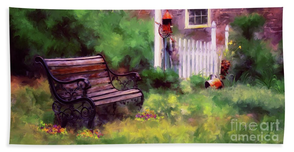 Bench Hand Towel featuring the photograph Country Garden by Lois Bryan