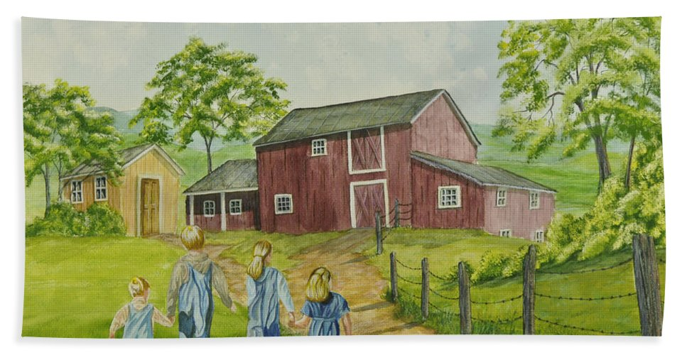 Country Kids Art Hand Towel featuring the painting Country Kids by Charlotte Blanchard
