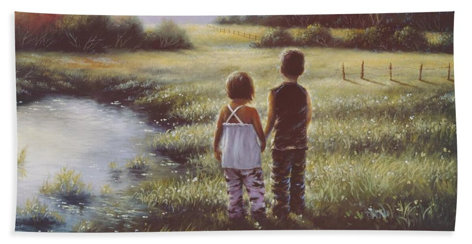 Boy Hand Towel featuring the painting Country Kids by Vickie Wade