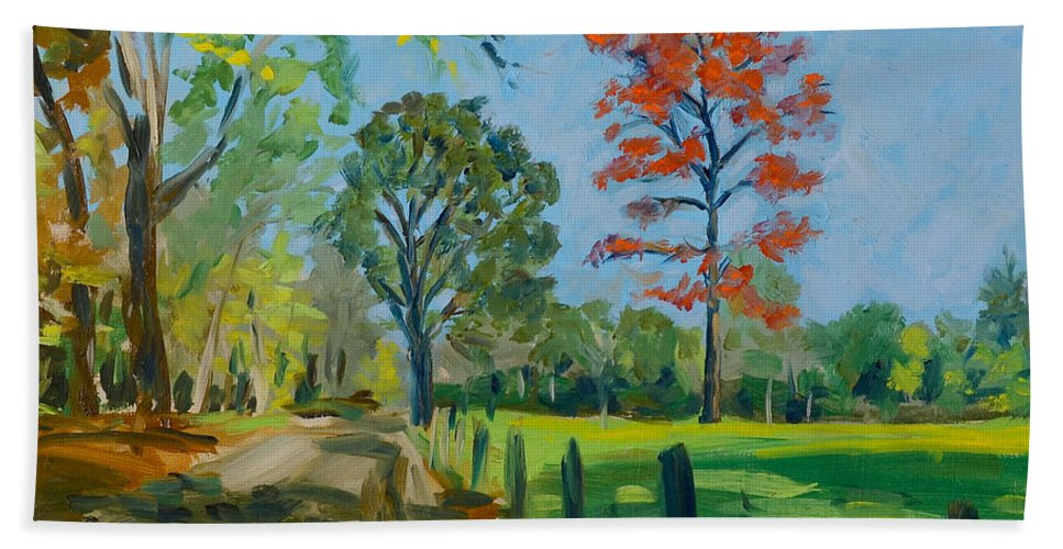 Country Road Hand Towel featuring the painting Country Lane by Eugenie B Fein