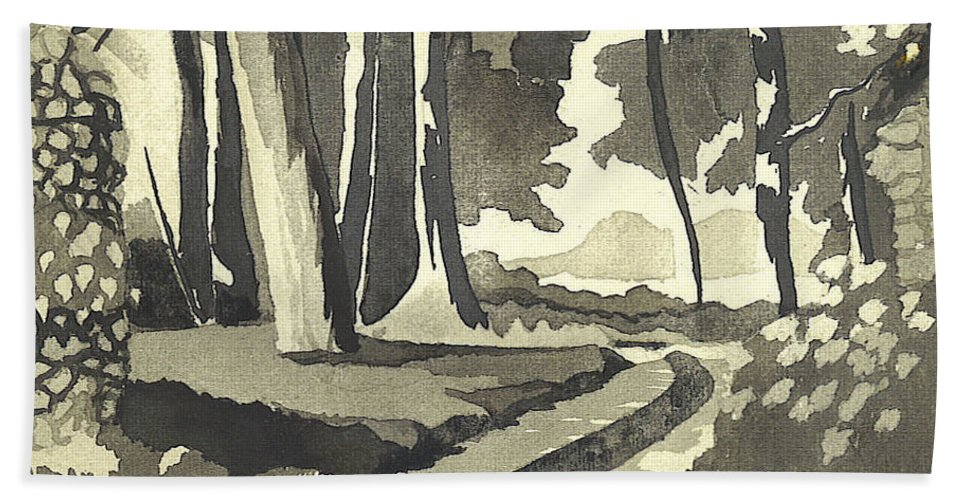 Rural Bath Towel featuring the painting Country Lane In Evening Shadow by Kip DeVore