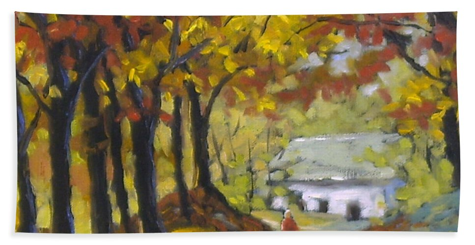 Art Bath Towel featuring the painting Country Lane by Richard T Pranke