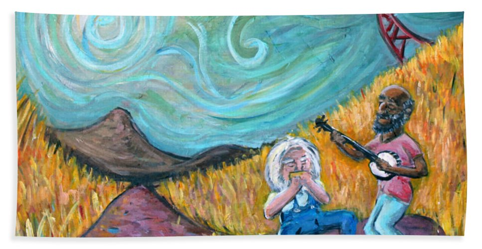 Country Music South Old Man Banjo Van Gogh Corn Field Hand Towel featuring the painting Country Music by Jason Gluskin