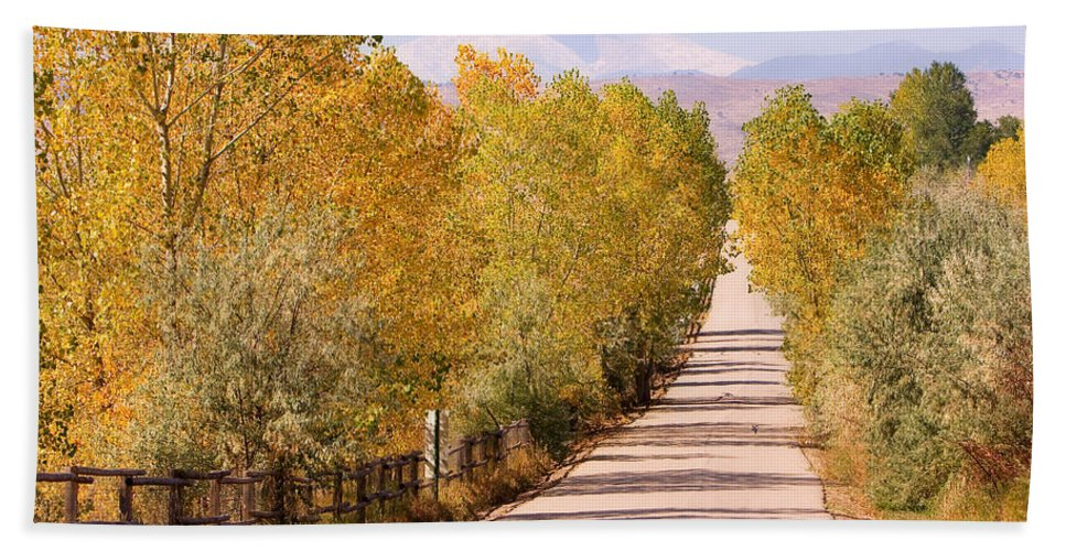 Longs Peak Bath Sheet featuring the photograph Country Road Autumn Fall Foliage View Of The Twin Peaks by James BO Insogna