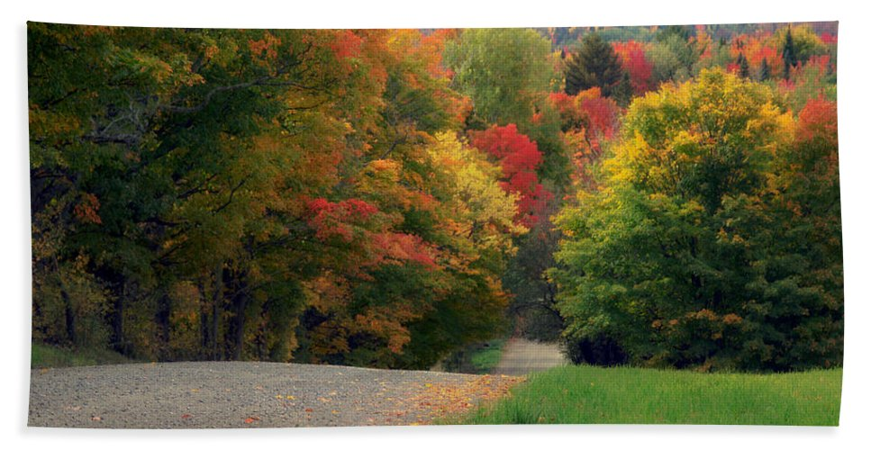 Autumn Hand Towel featuring the photograph Country Road by John Compton