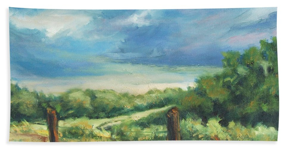Clouds Bath Towel featuring the painting Country Road by Rick Nederlof